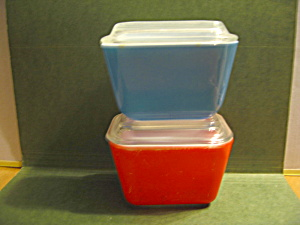 Pyrex Blue/red Small Refrigerator Dish Set