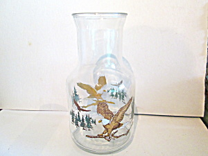 Vintage Glass Wildlife Eagle Juice/cocktail Carefe