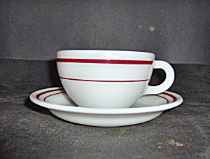 Vintage Pyrex Ruby Band Coffee Cup & Saucer Set