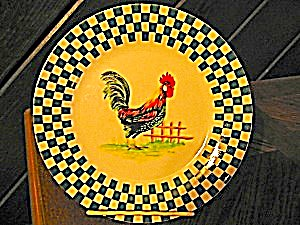 Royal Norfolk Green Checked Plate With Rooster