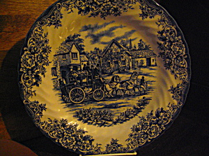 Royal Stafford Dinner Plate Blue Coaching Scene