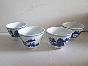 Oriental Blue/white Willow Sake/cup Set
