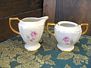 Dixon Art Studios Rose Open Sugar And Creamer