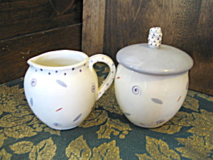 J Shapiro Creamer And Covered Sugar Bowl