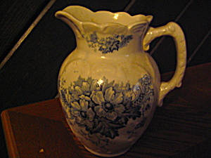 Vintage Blue Flowered Milk/cream/syrup Pitcher