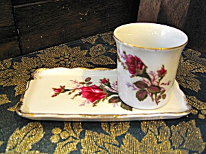 Royal Sealy Moss Rose Round Cigarette Holder And Tray