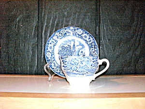 Liberty Blue Historic Colonial Scene Cup And Saucer Set