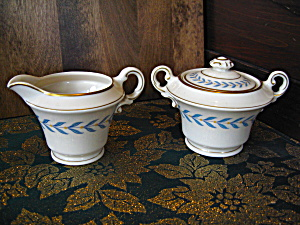 Syracuse Old Ivory Sherwood Creamer And Sugar Bowl