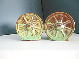 Vintage Set Of Wagon Wheel Salt & Pepper Shaker