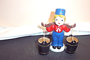 Vintage Dutch Boy Carrying Water Salt & Pepper Shakers