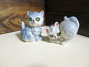 Vintage Green Eyed Cat Salt & Pepper Shakers