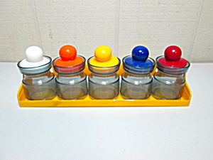 Vintage Yellow Plastic Retro Spice Rack & Jars