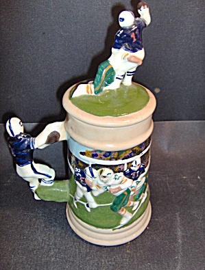 Vintage Football Stein With Lid Blue & White