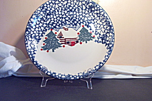 Tienshan Christmas Dishes Cabin In Woods Dinner Plate