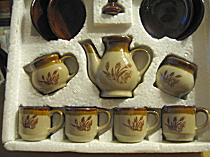 Vintage 12 Piece Stoneware Toy Coffee Set