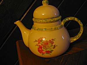 Large Pink Rose Green Trim Teapot
