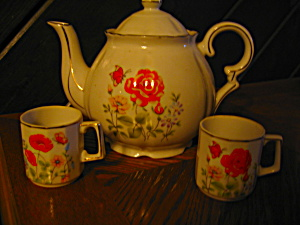 Orange Flower And Butterfly Tea Pot Set