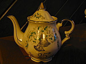Lefton Handpainted China 25th Anniversary Tea Pot