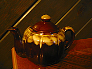 Vintage Frosted Glossy Brown Drip Teapot