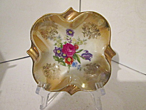 Vintage Porcelain China Tan Floral Ash Tray