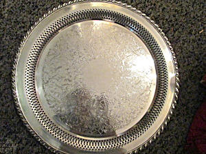 Vintage Oneida Silver Plated Round Serving Tray