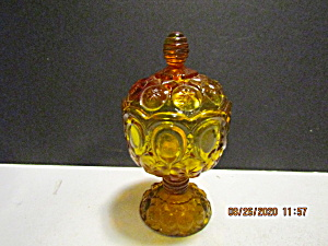 Vintage Amberina Glass Moon & Stars Candy Dish