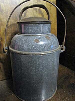Vintage Covered Gray Speckled Aluminum Milk Pail