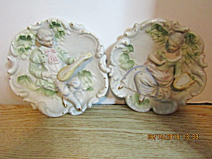 Antique Bisque Chalkware 3d Colonial Couple Plaques