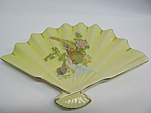 Vintage Asian Porcelain Bird & Floral Fan Dish