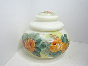 Vintage Hand Painted Art Glass Covered Storage Jar