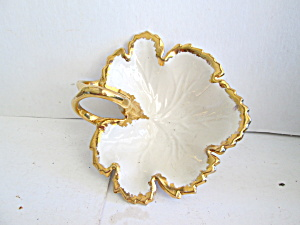 Gold Trimmed Handled Leaf Dish Candy Or Trinket