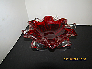 Vintage Art Glass Ruby Red And Crystal Dish (Image1)