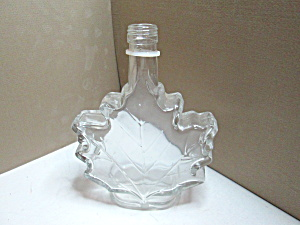 Vintage Maple Syrup Leaf Glass Bottle