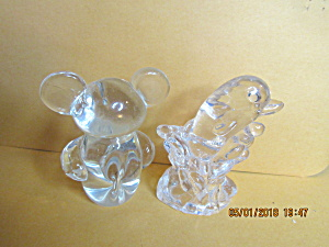 Vintage Federal Glass Bear & Dolphin Figures