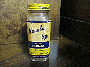 Vintage Glass Marion-kay Grated Nutmeg Bottle
