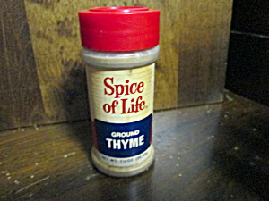 Vintage Plastic Spice Of Life Ground Thyme Bottle