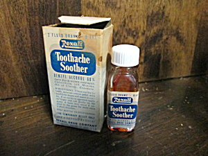 Vintage Glass Rexall Toothache Soother Medicine Bottle