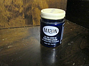 Vintage Cobalt Blue Glass Mazon Medicine Bottle