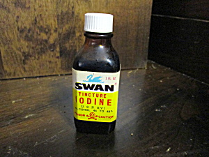 Vintage Glass Swan Tincture Iodine Medicine Bottle