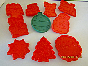 Vintage Red/green Christmas Ten Piece Cookie Cutterset