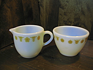 Vintage Pyrex Butterfly Gold Open Sugar/ Creamer Set