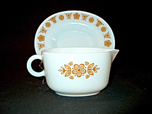 Vintage Pyrex Golden Butterfly Gravy Bowl&underplate