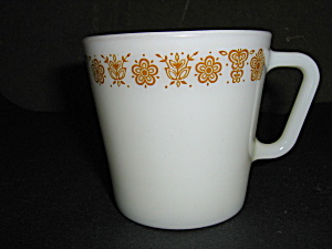 Vintage Pyrex Coffee Mug Golden Butterfly