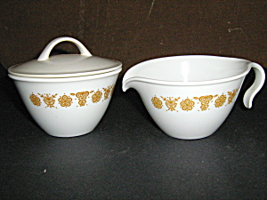 Vintage Butterfly Gold Sugar&creamer Corelle