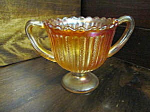 Vintage Depression Glass Amber Pedestal Sugar Bowl