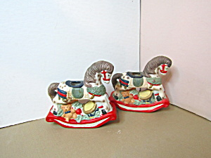 Vintage Christmas Rocking Horse Candle Holders