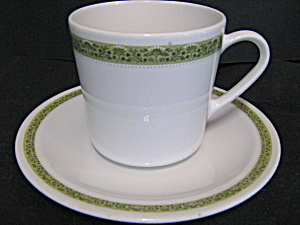 Vintage Centura Lynnwood Green Cup And Saucer Set