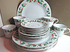 Vintage China Pearl Dinnerware Set Noel