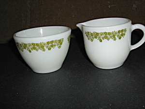 Pyrex Spring Blosson Green Sugar&creamer