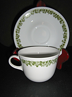 Vintage Corelle Spring Blossom Green Cup & Saucer 2